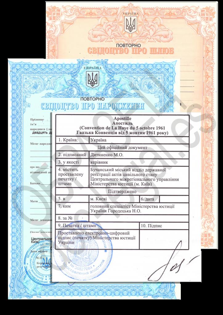 Свидетельство о рождении и браке с апостилем Украина